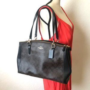 COACH Leather Black/Brown Monogram Tote